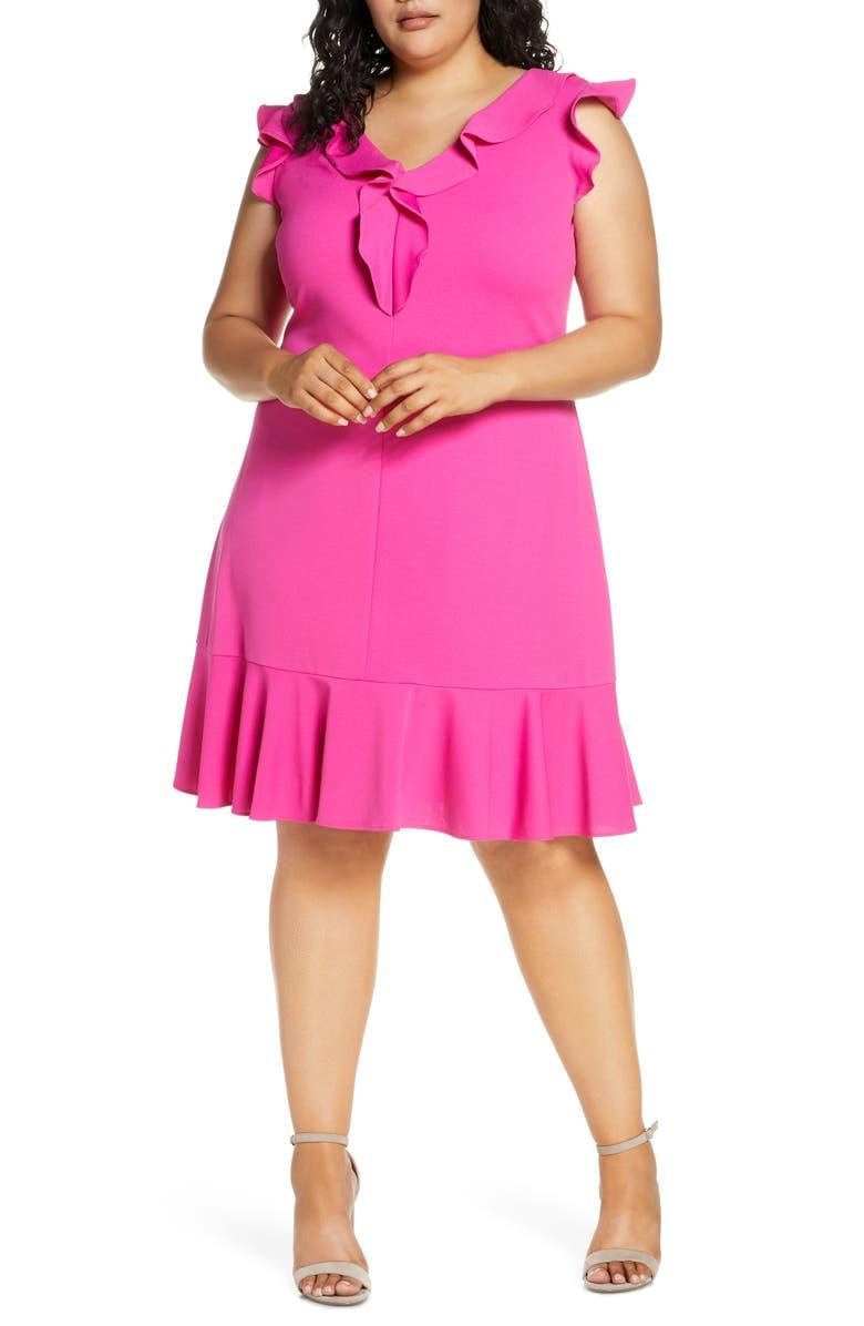 DONNA RICCO Ruffle Fit & Flare Dress, Main, color, HOT FUCHSIA