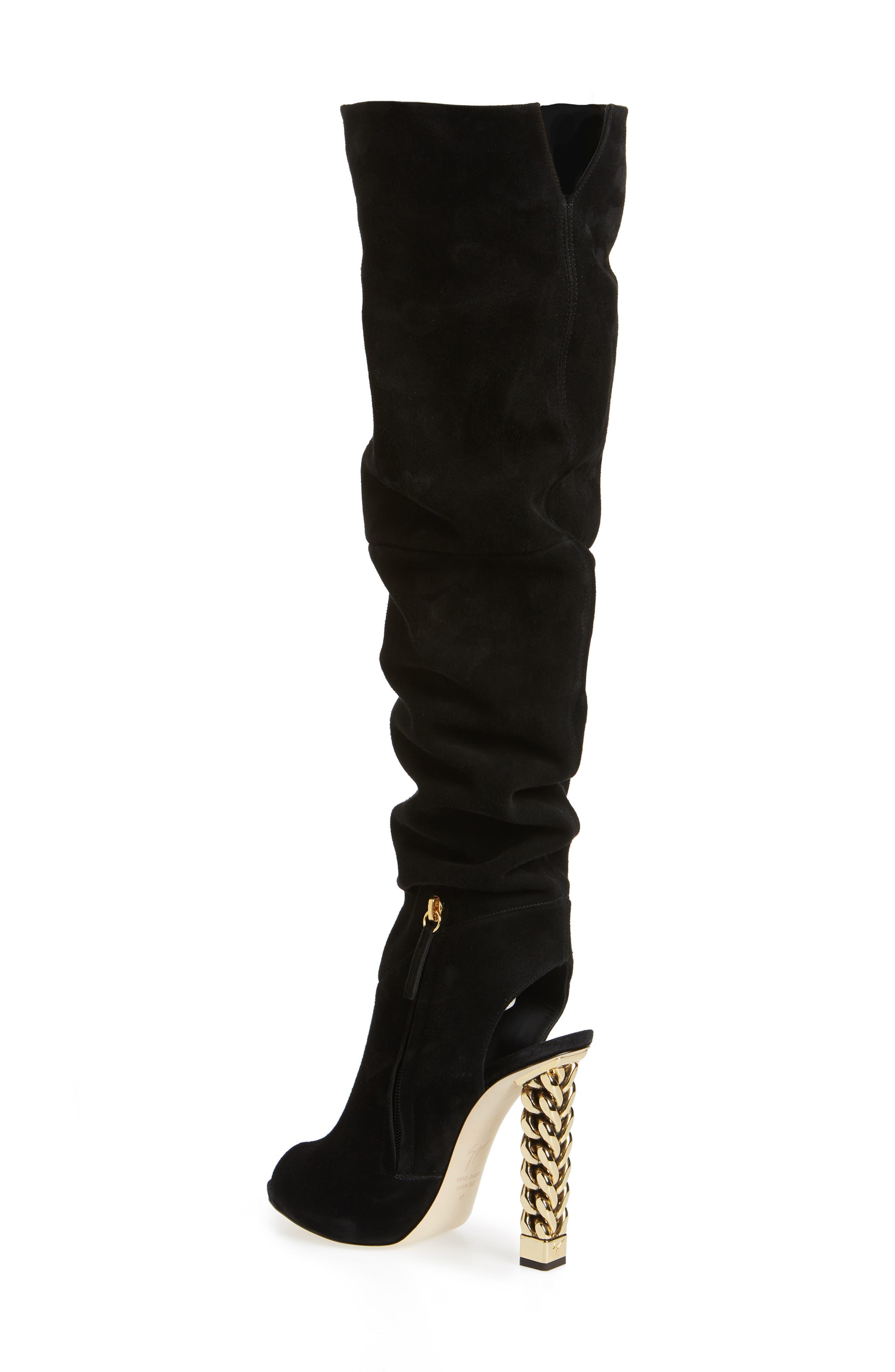 ,                             x Rita Ora Chain Heel Over the Knee Boot,                             Alternate thumbnail 2, color,                             BLACK