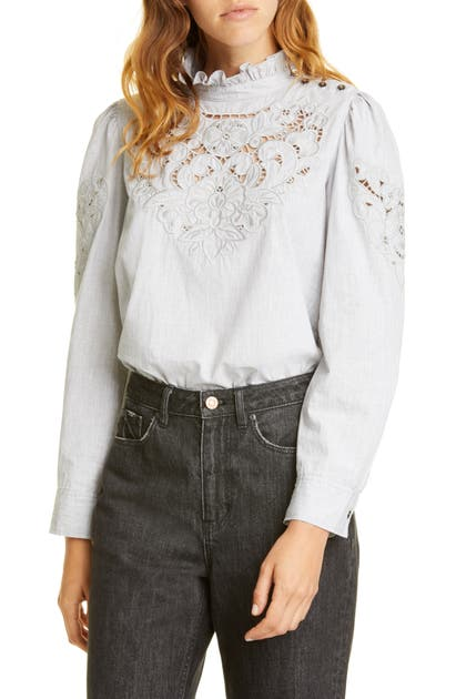 La Vie Rebecca Taylor Tops LEAH EMBROIDERED TOP