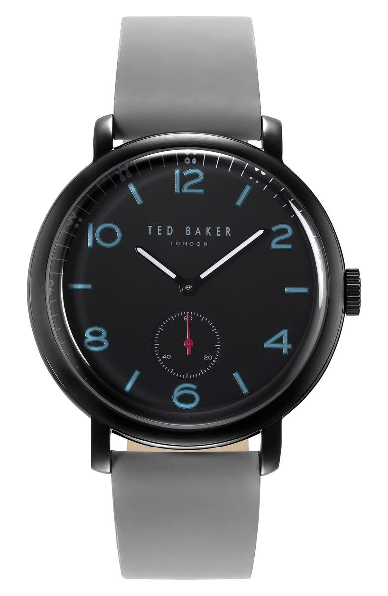 TED BAKER LONDON Harry Leather Strap Watch, 43mm, Main, color, 001