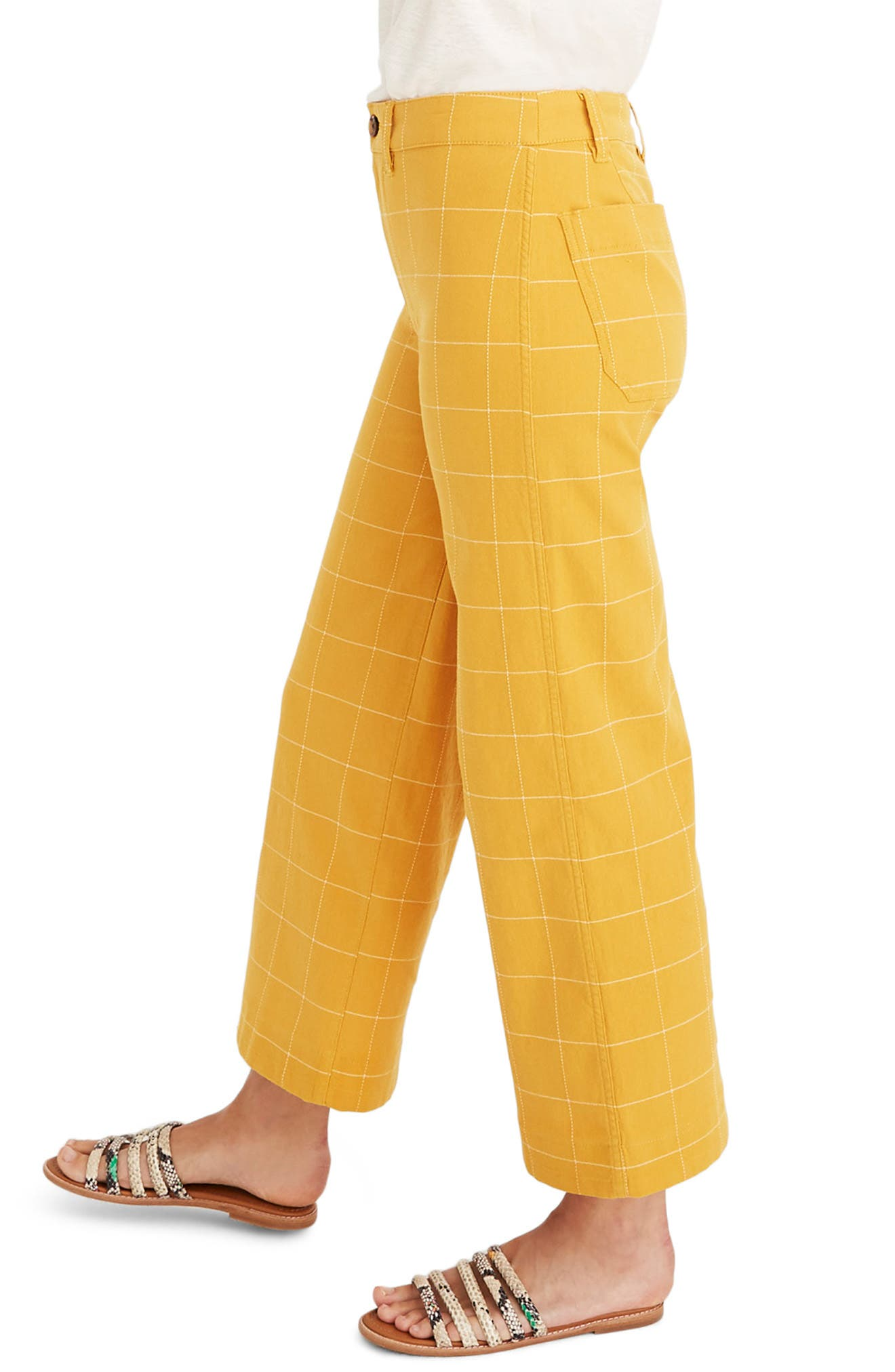 ,                             Emmett Windowpane Crop Wide Leg Pants,                             Alternate thumbnail 4, color,                             WINDOWPANE TUNGSTEN GLOW