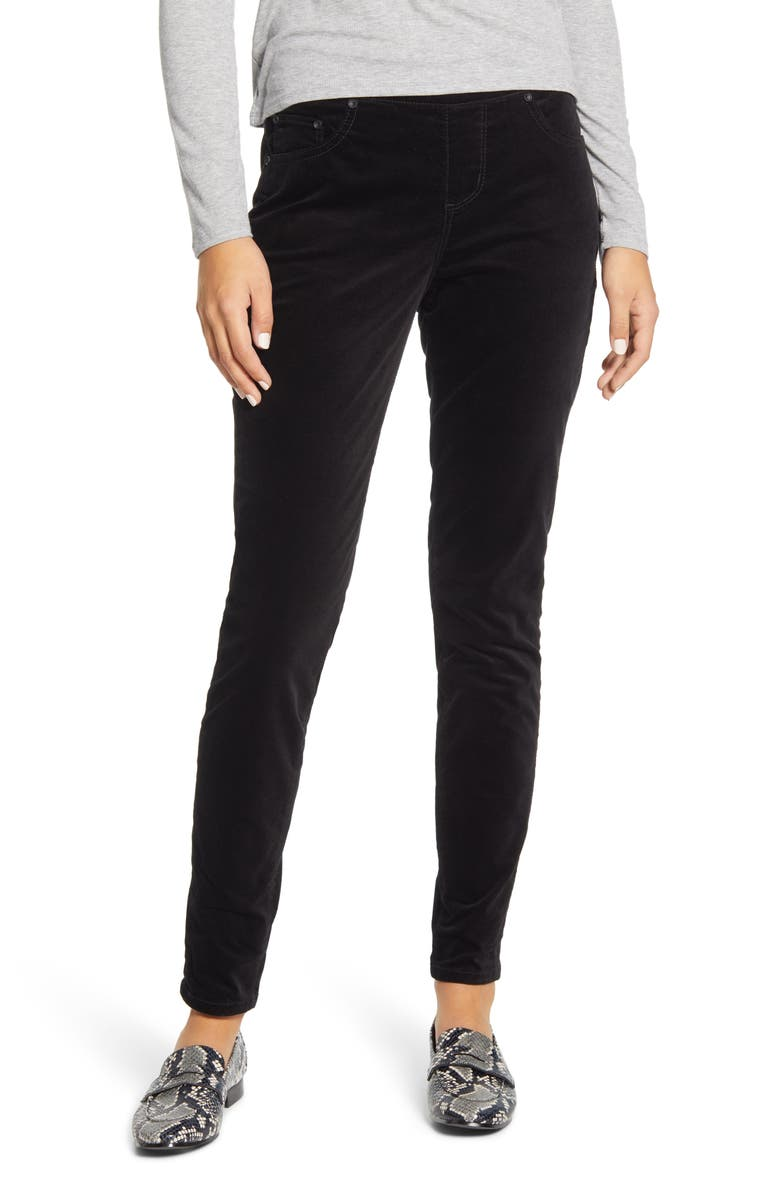 JAG JEANS Maya Pull-On Skinny Velvet Pants, Main, color, BLACK