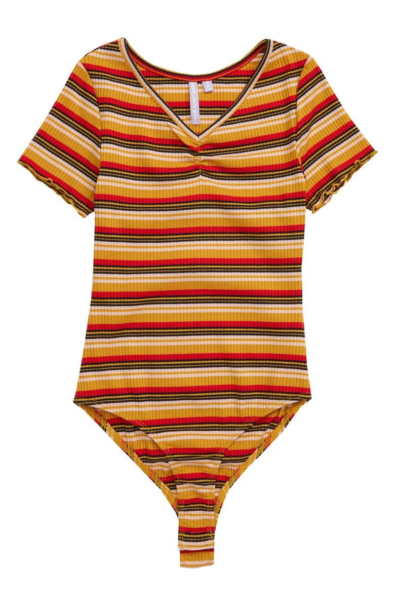 GOOD LUCK GIRL Stripe Bodysuit, Main, color, MULTI