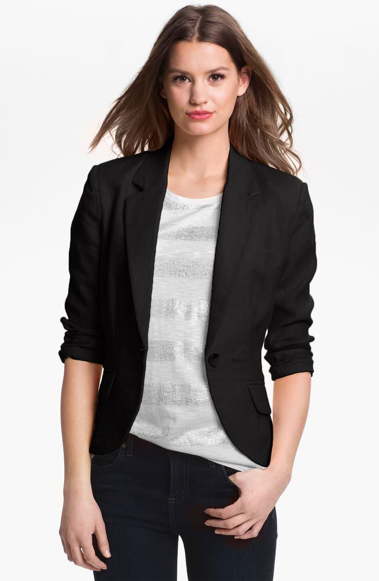 OLIVIA MOON Linen Jacket, Main, color, 001