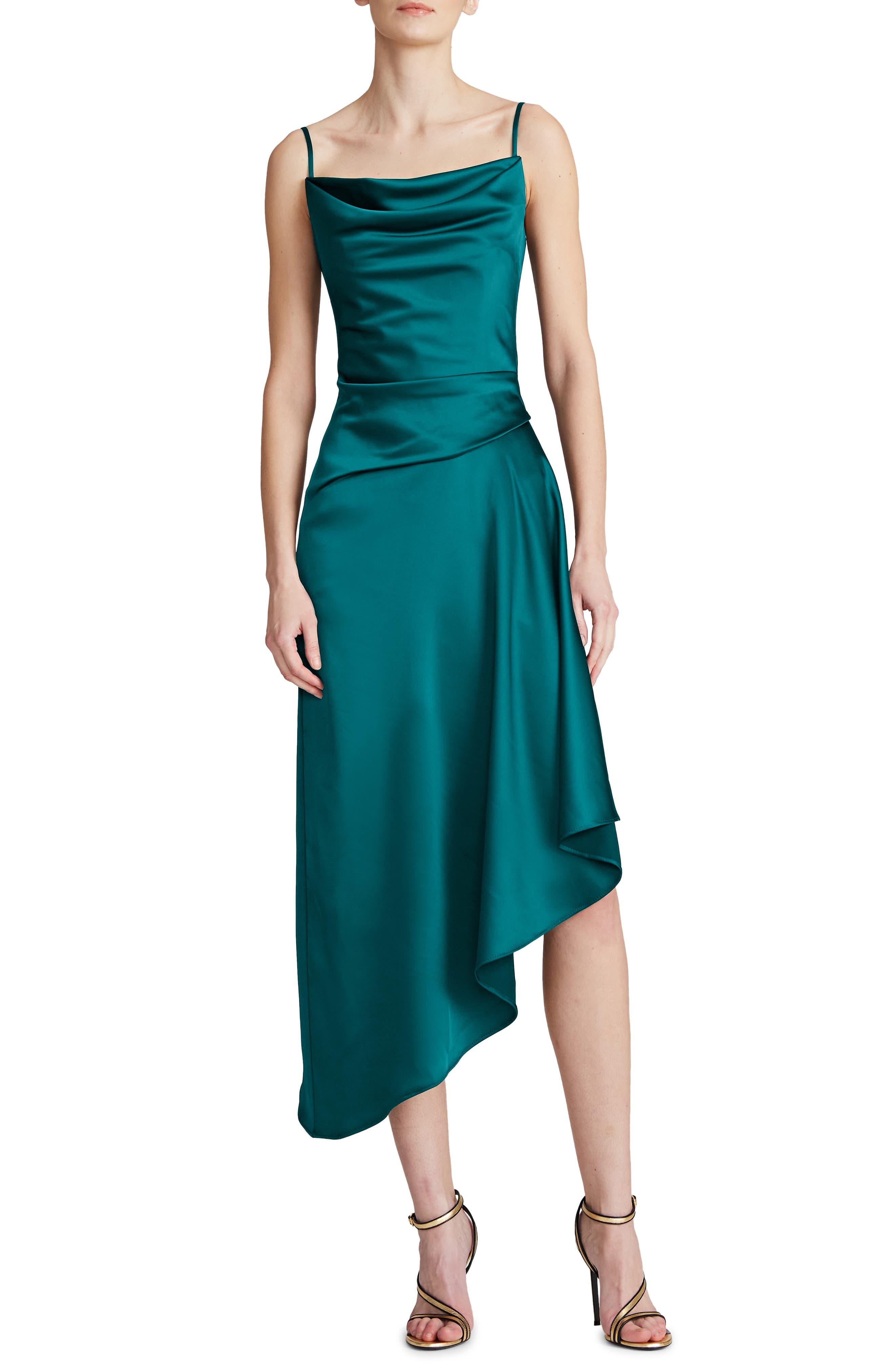 Nuri Asymmetric Hem Satin Cocktail Dress