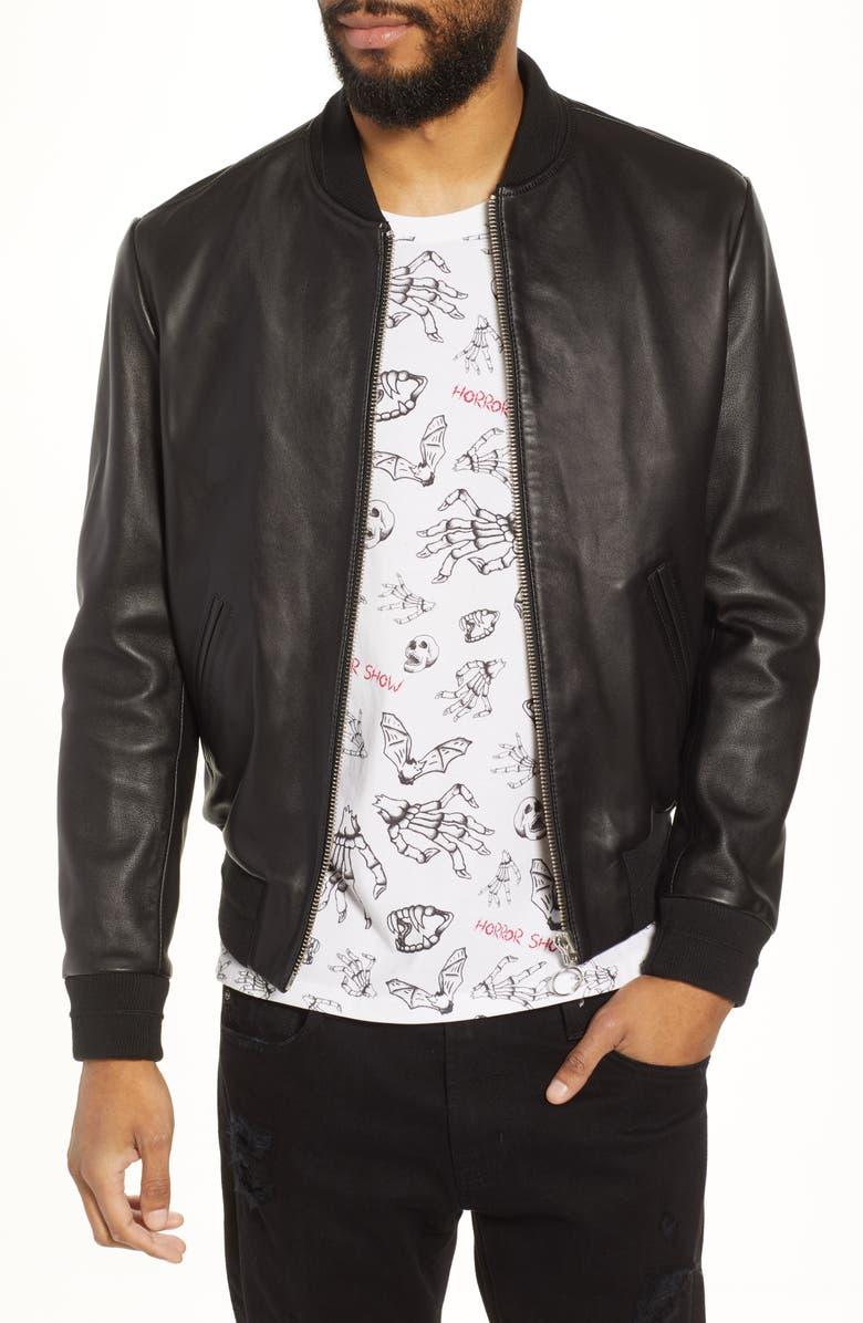 THE KOOPLES Regular Fit Leather Bomber Jacket, Main, color, 001