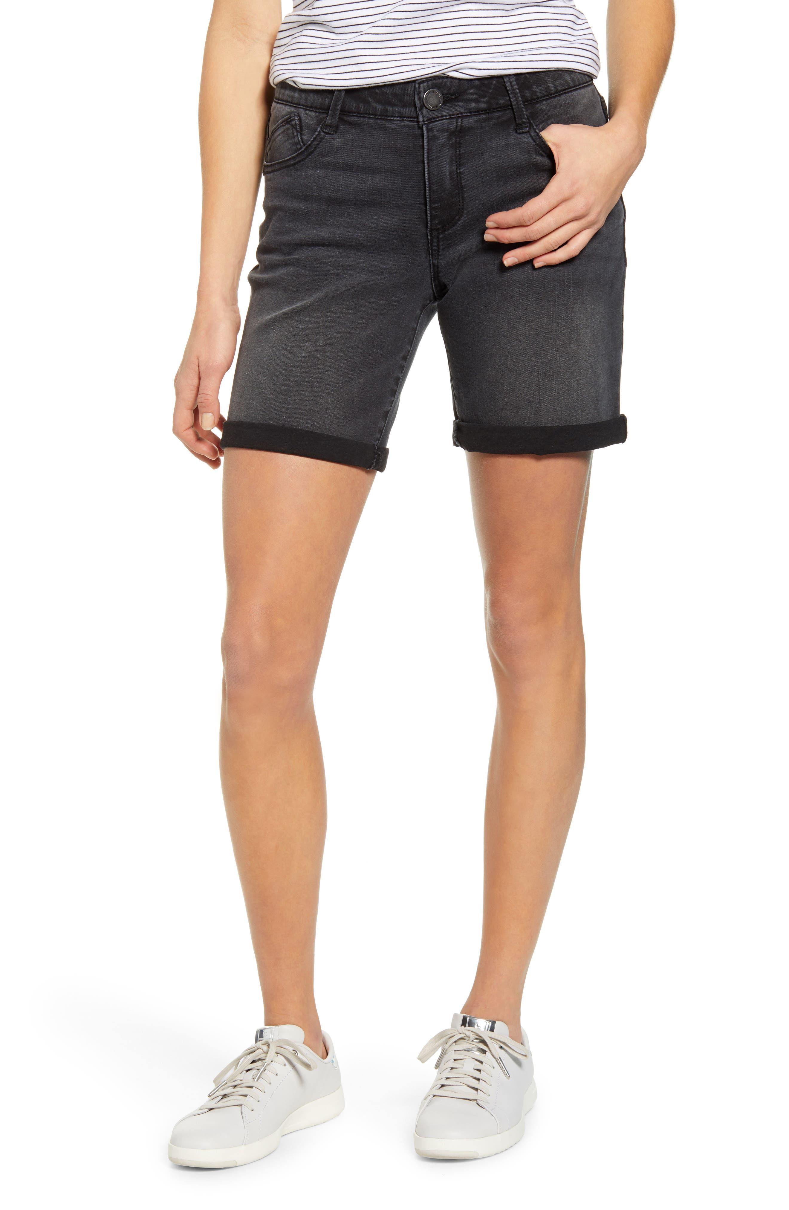 Women's Wit & Wisdom Ab-Solution White Denim Shorts,  12 - Black (Regular & Petite) (Nordstrom Exclusive)
