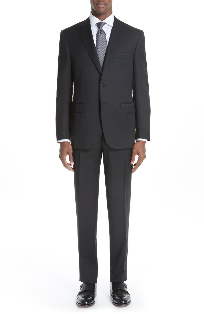 CANALI Classic Fit Solid Wool Suit, Main, color, BLACK
