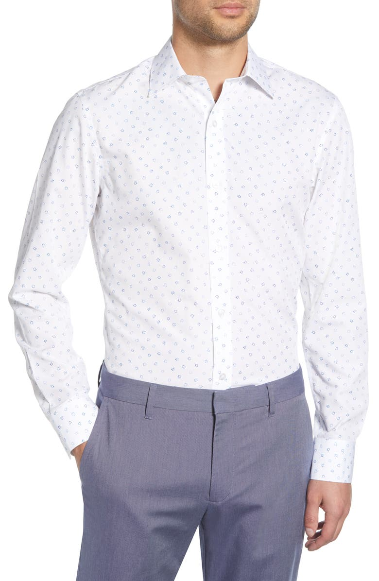 BONOBOS Petal Press Slim Fit Floral Dress Shirt, Main, color, WHITE