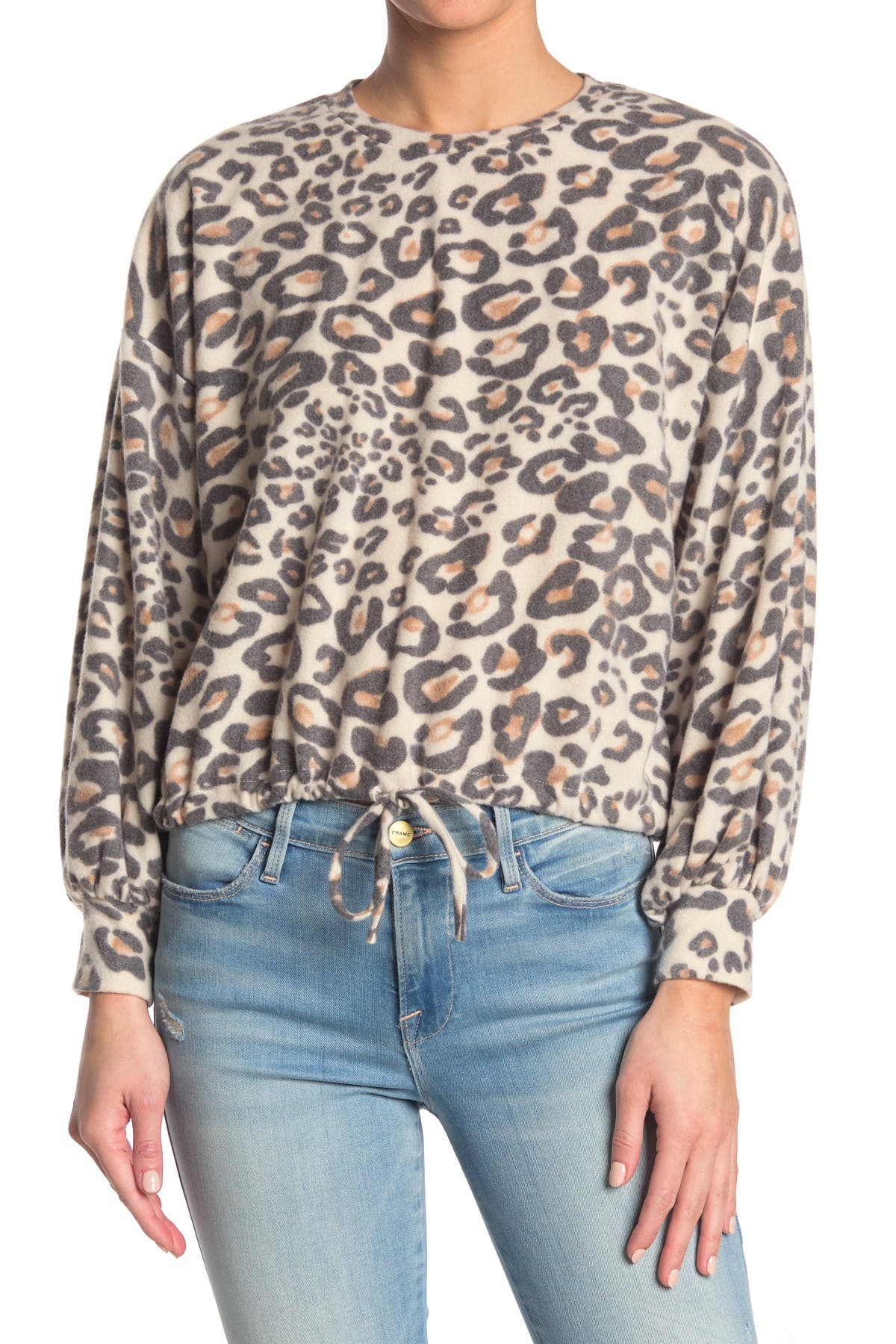 Image of Know One Cares Brushed Knit Leopard Print Drawstring Hem Sweater