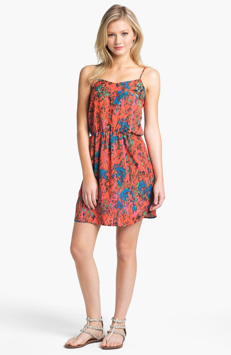 COLLECTIVE CONCEPTS Print Gathered Slip Dress, Main, color, 620