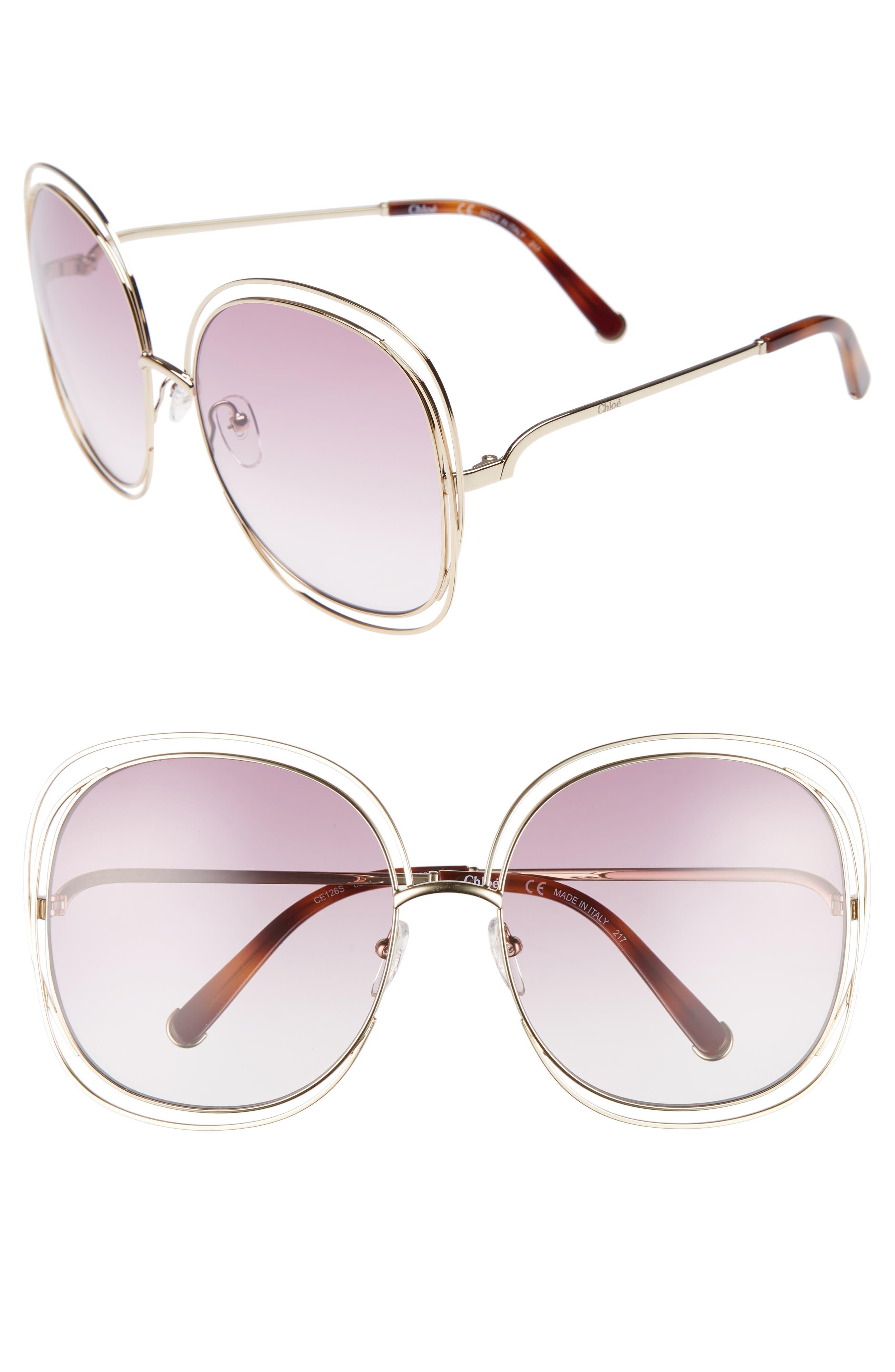 Image of Chloe Carlina 62mm Square Sunglasses