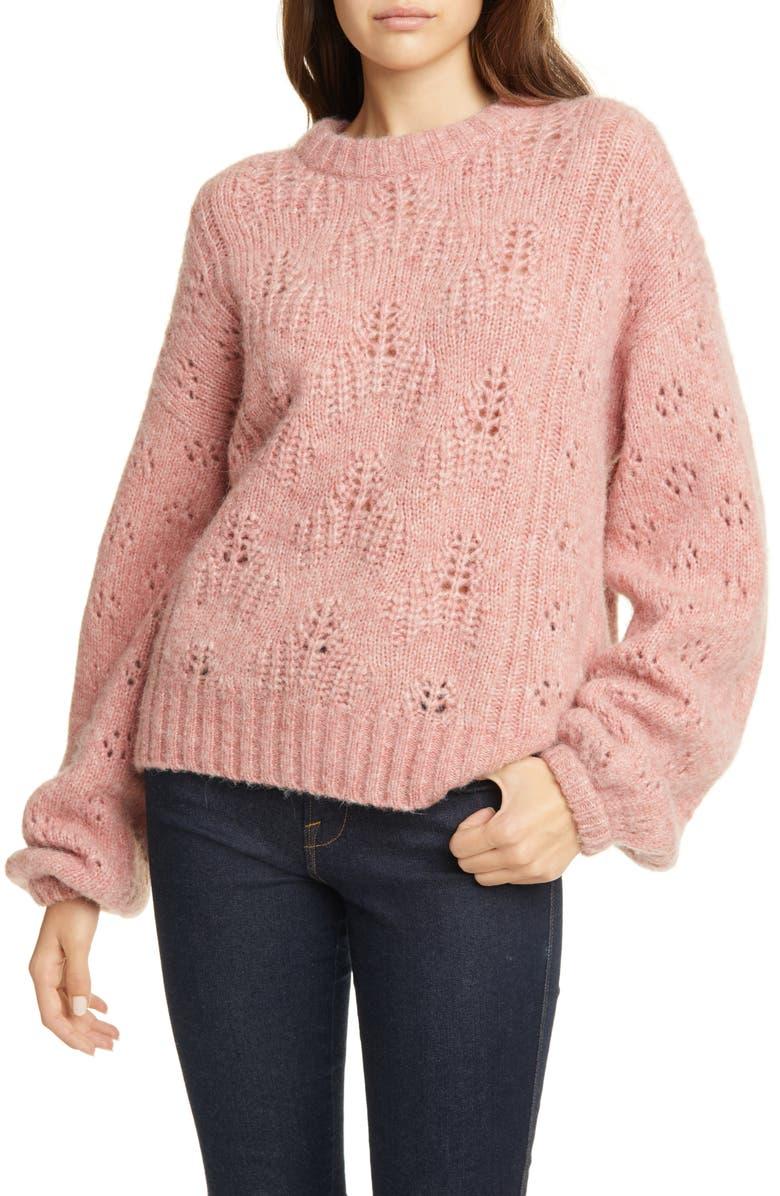 JOIE Lihui Pointelle Detail Balloon Sleeve Wool & Alpaca Sweater, Main, color, 680