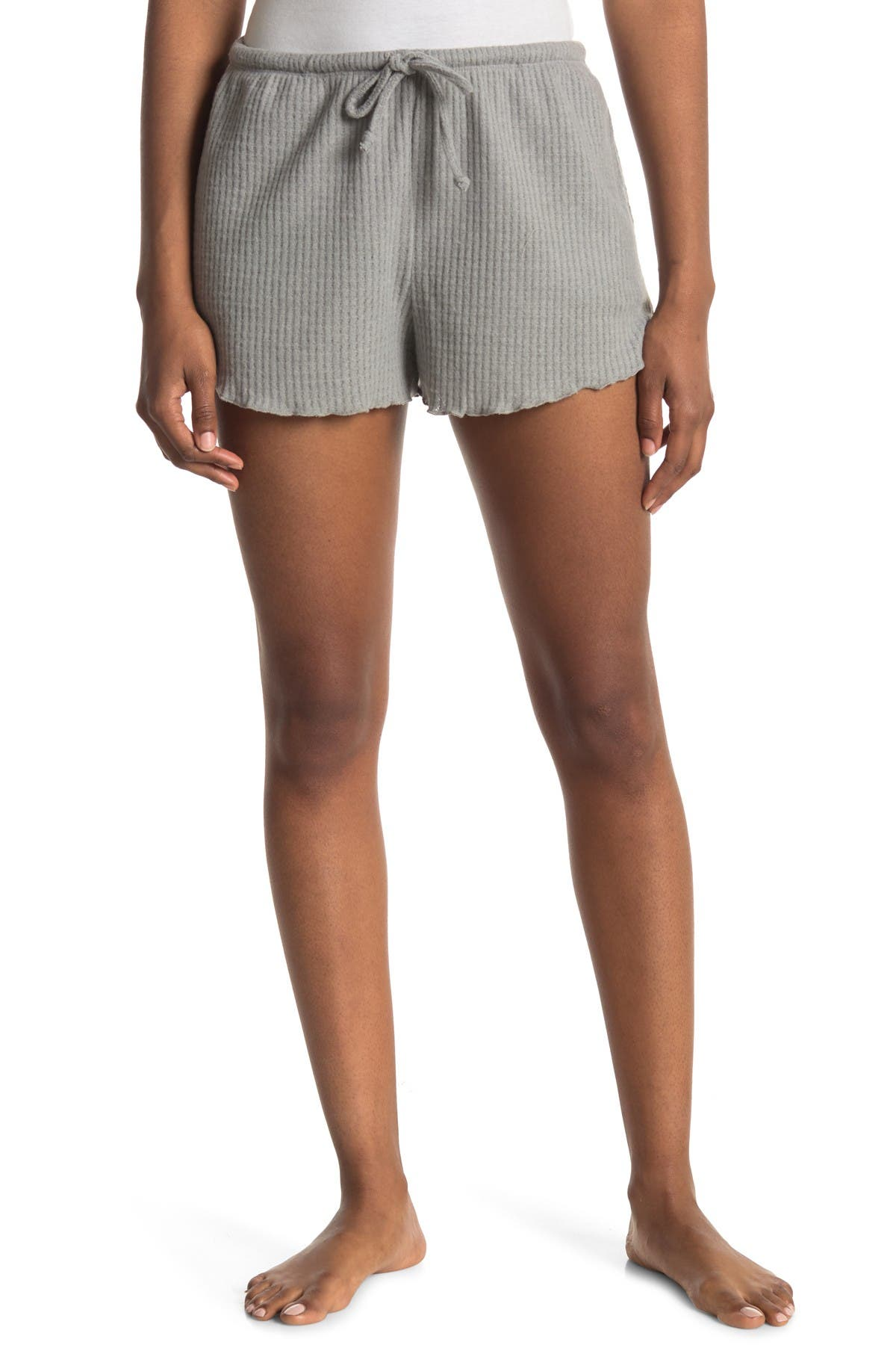 Image of Socialite Lettuce Edge Ribbed Knit Shorts