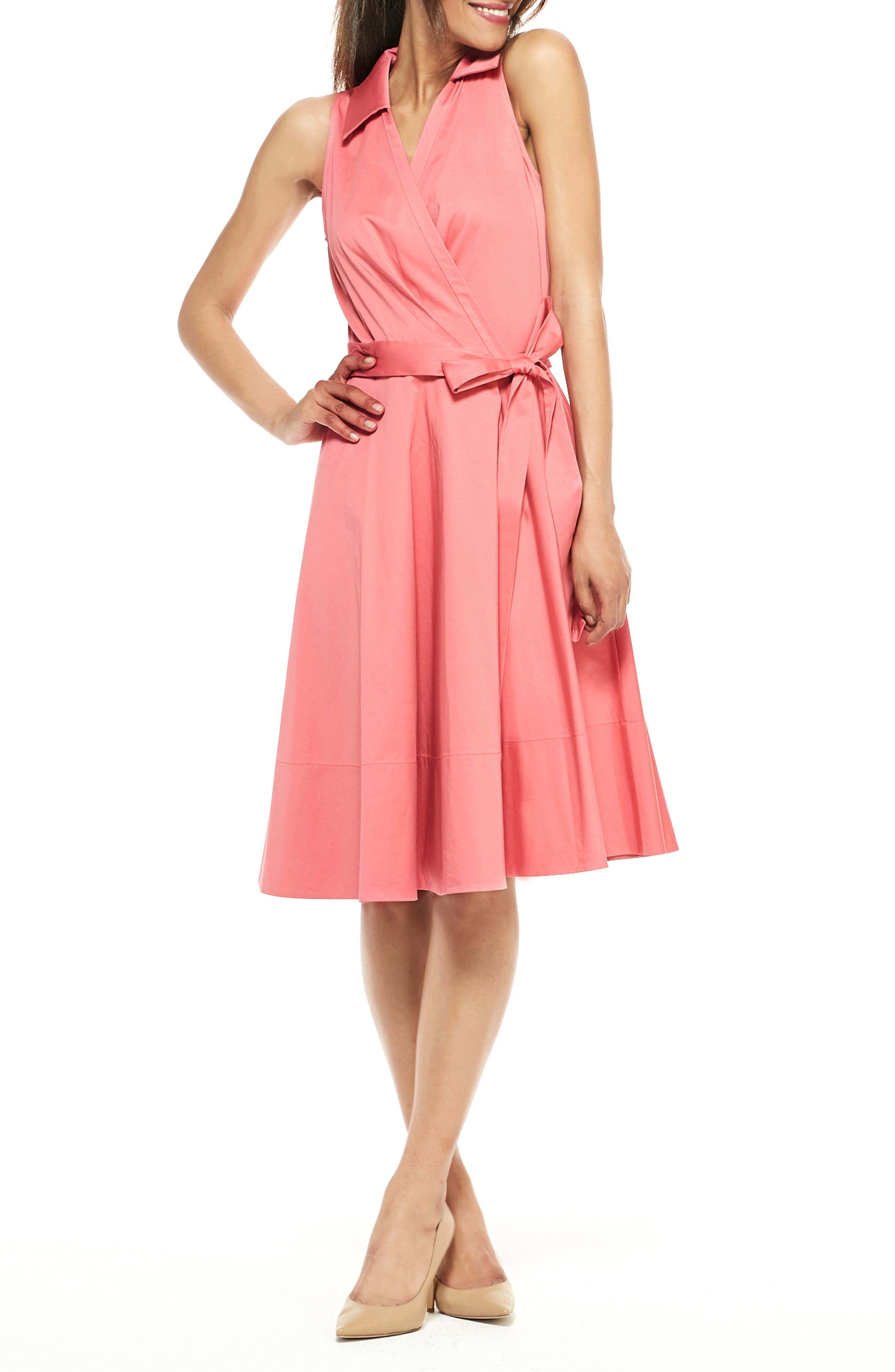 Petite Gal Meets Glam Collection Heather Sleeveless Stretch Cotton Wrap Shirtdress, Pink