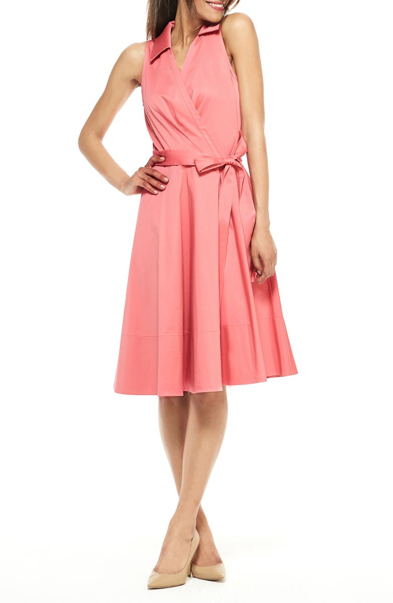 GAL MEETS GLAM COLLECTION Heather Sleeveless Stretch Cotton Wrap Shirtdress, Main, color, ROSEMIST