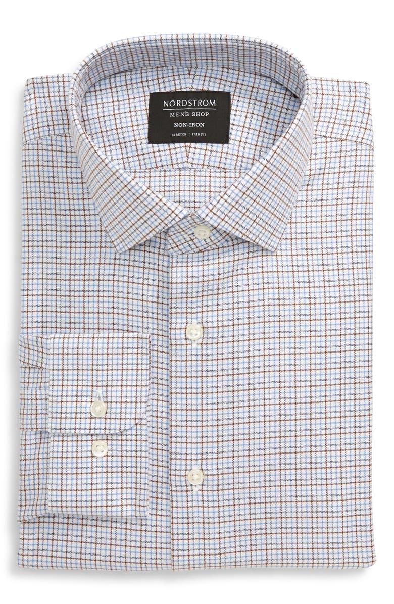 NORDSTROM MEN'S SHOP Trim Fit Non-Iron Check Dress Shirt, Main, color, BROWN ROOT