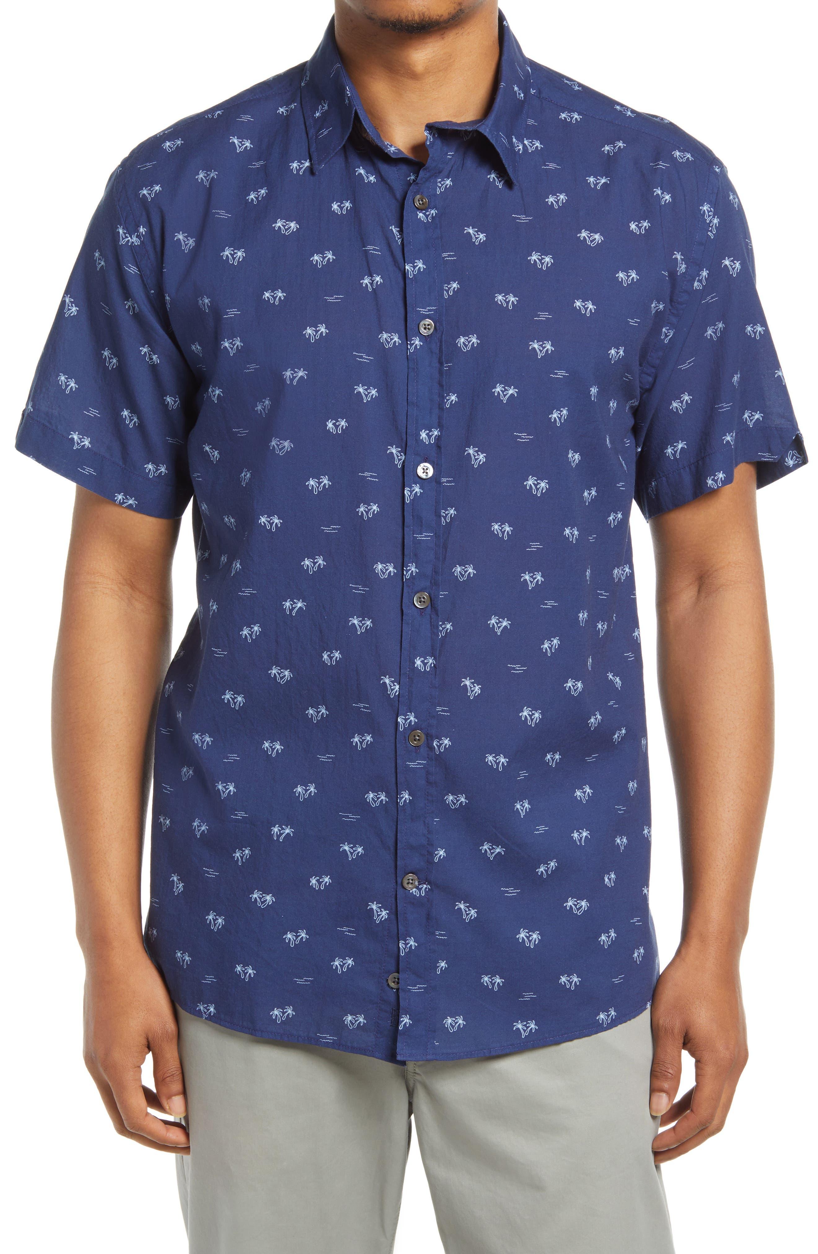 Regular Fit Palm Tree Short Sleeve Button-Up Shirt