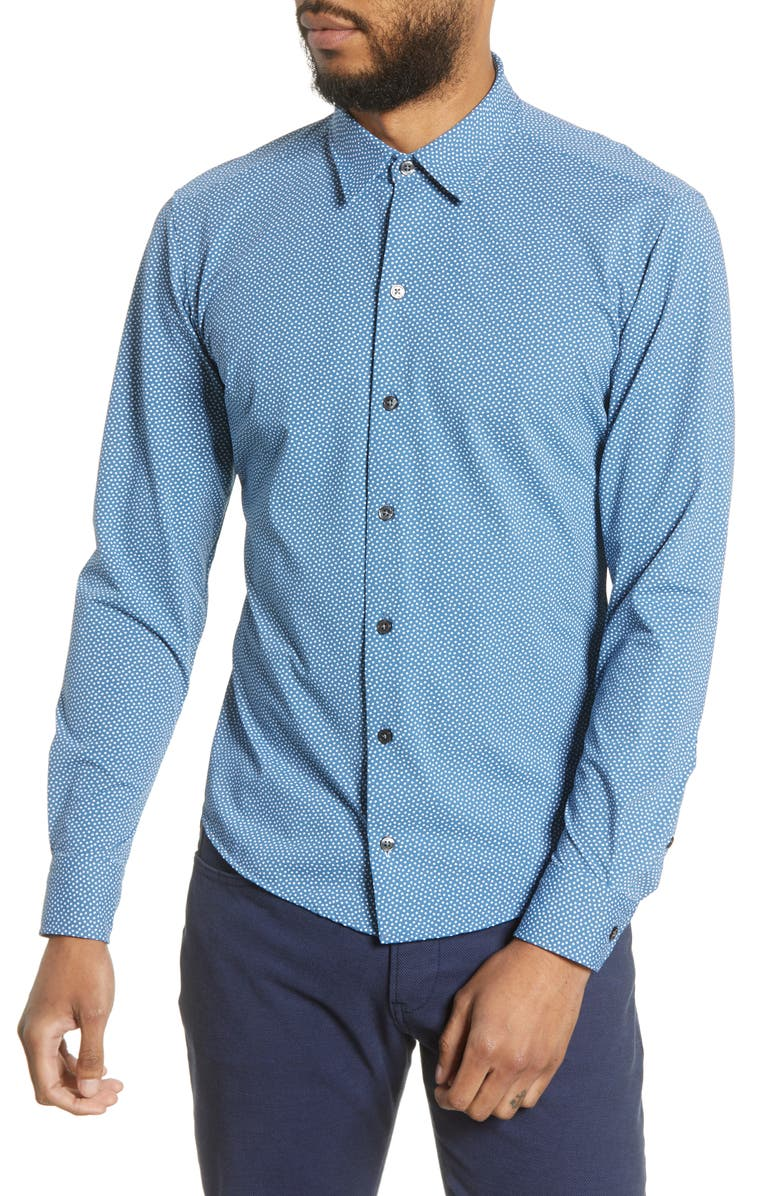 BOSS Robbie Slim Fit Micro Print Stretch Button-Up Shirt, Main, color, BLUE