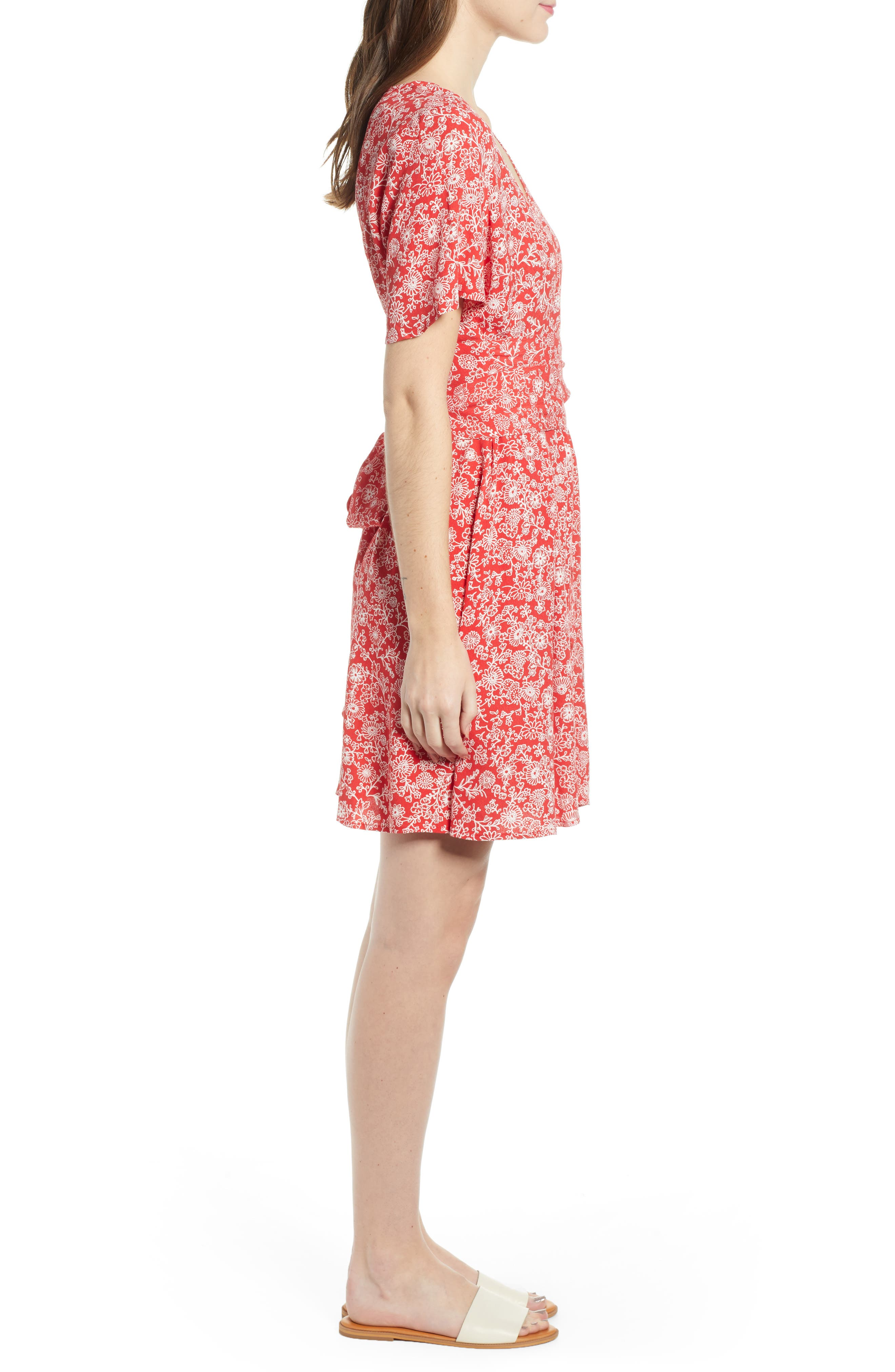 ,                             Floral Front Button Minidress,                             Alternate thumbnail 4, color,                             RED BLOOM VINED DAISIES