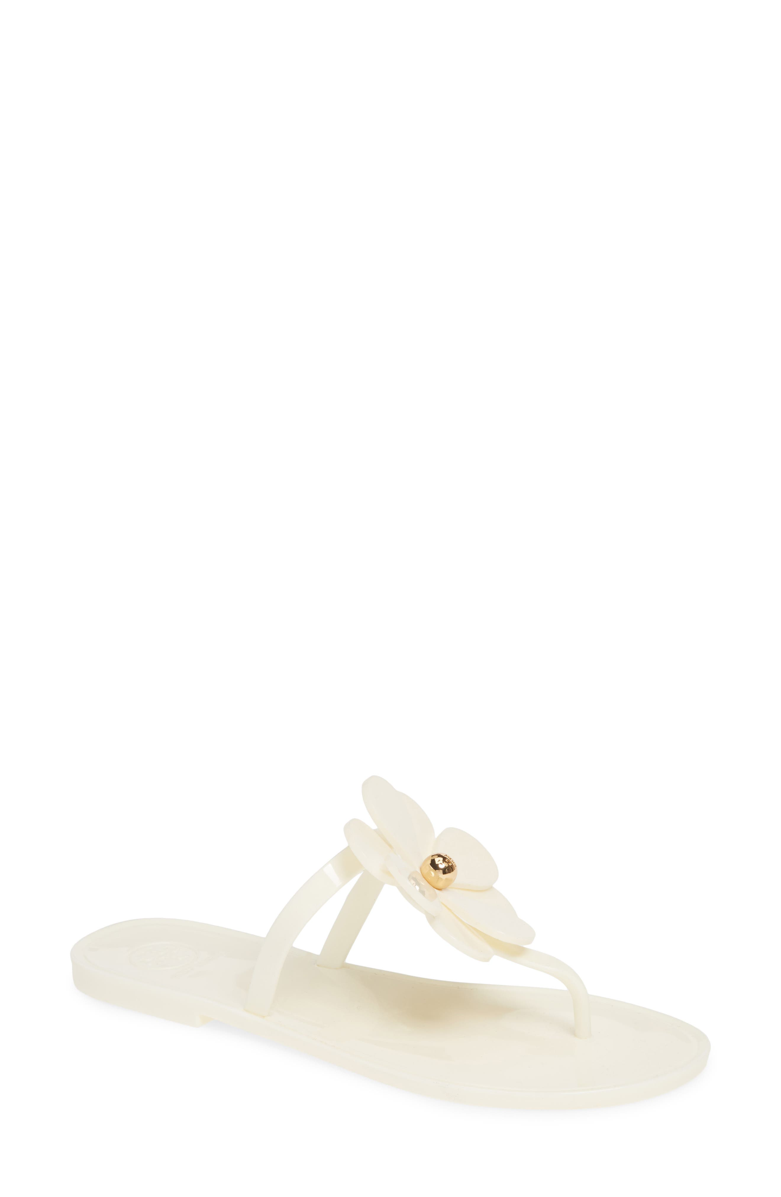 Tory Burch Floral Jelly Flip Flop, Ivory