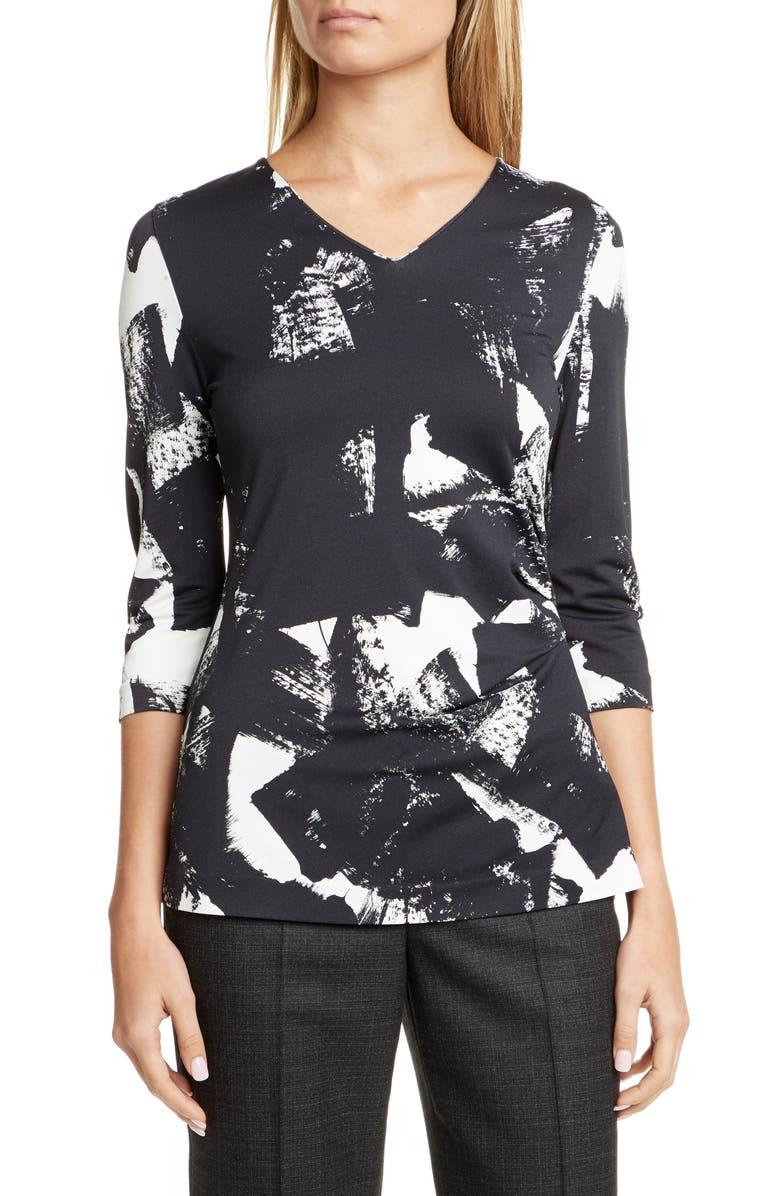 BOSS Epana Print Jersey Top, Main, color, BLACK BRUSH STROKE FANTASY