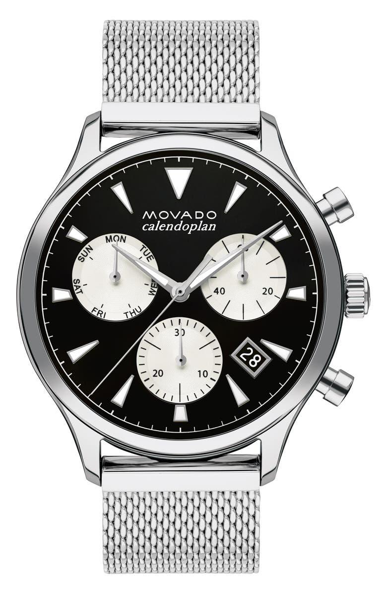 MOVADO Heritage Calendoplan Chronograph Bracelet Watch, 43mm, Main, color, SILVER/ BLACK/ SILVER