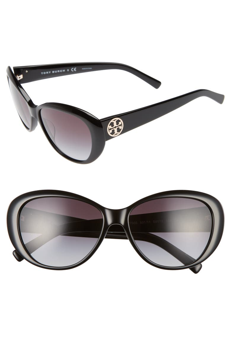 TORY BURCH 56mm Cat Eye Sunglasses, Main, color, 001