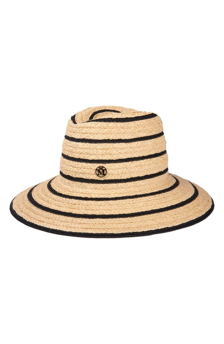 MAISON MICHEL Kate Stripe Straw Hat, Main, color, NATURAL/ BLACK