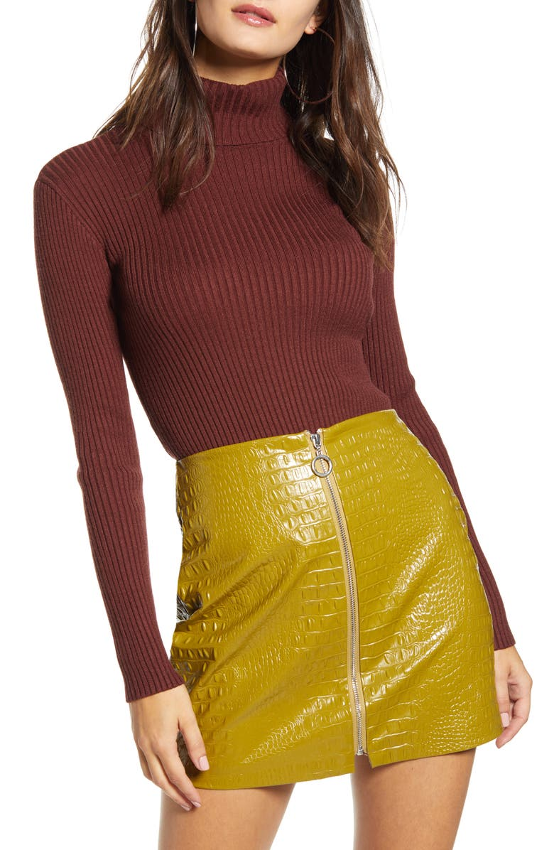 J.O.A. Ribbed Turtleneck Sweater, Main, color, BROWN