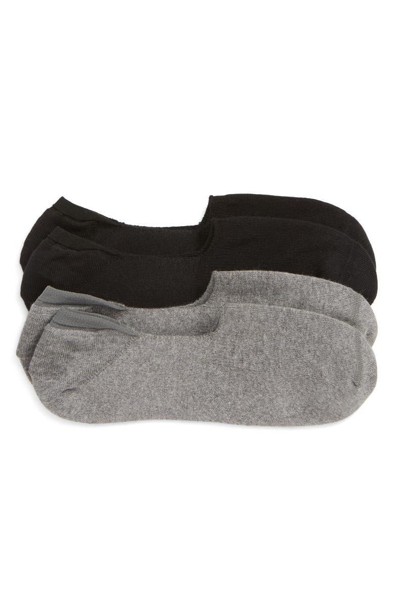 NORDSTROM MEN'S SHOP 2-Pack Everyday Liner Socks, Main, color, BLACK/ GREY