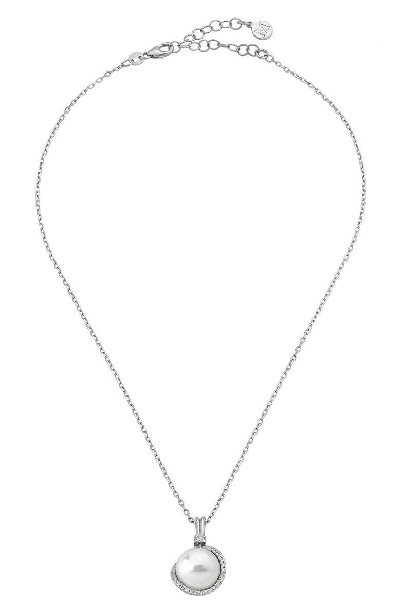MAJORICA Simulated Pearl Pendant Necklace, Main, color, 040