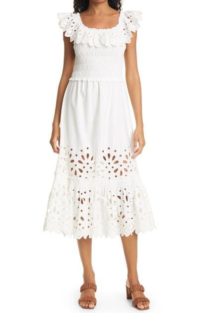 SEA HAZEL EYELET LACE SMOCKED MIDI DRESS