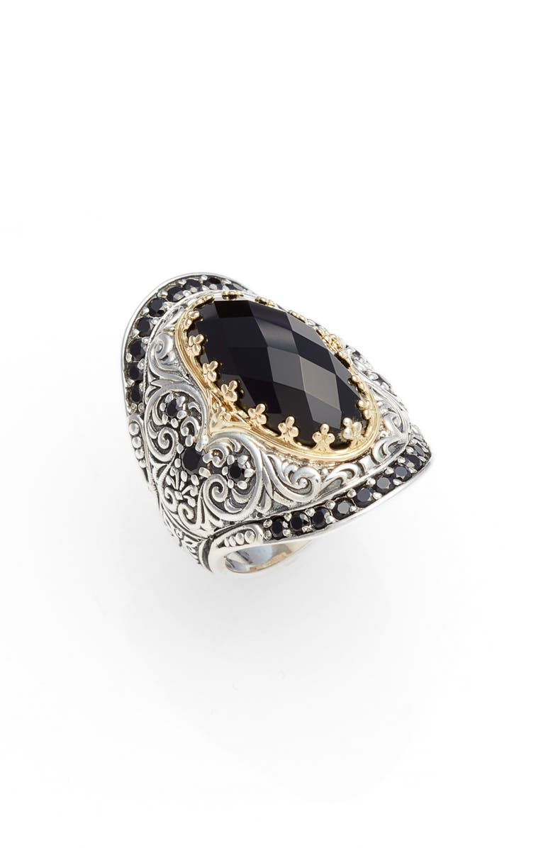 KONSTANTINO Selene Saddle Ring, Main, color, SILVER/ GOLD/ BLACK
