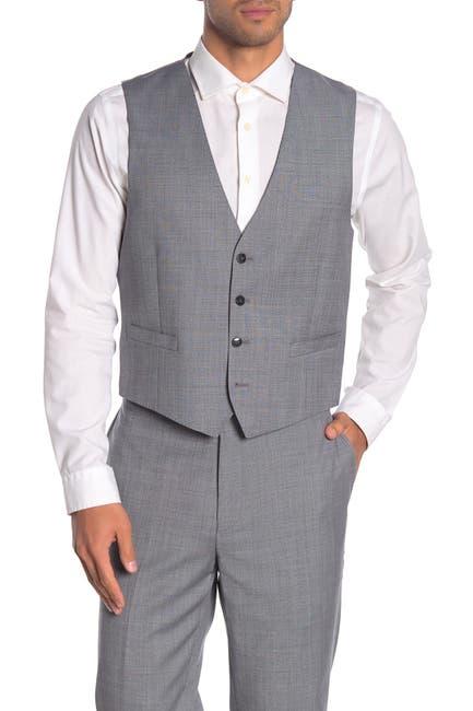 Image of Calvin Klein Medium Grey Twill Slim Fit Suit Separate Vest