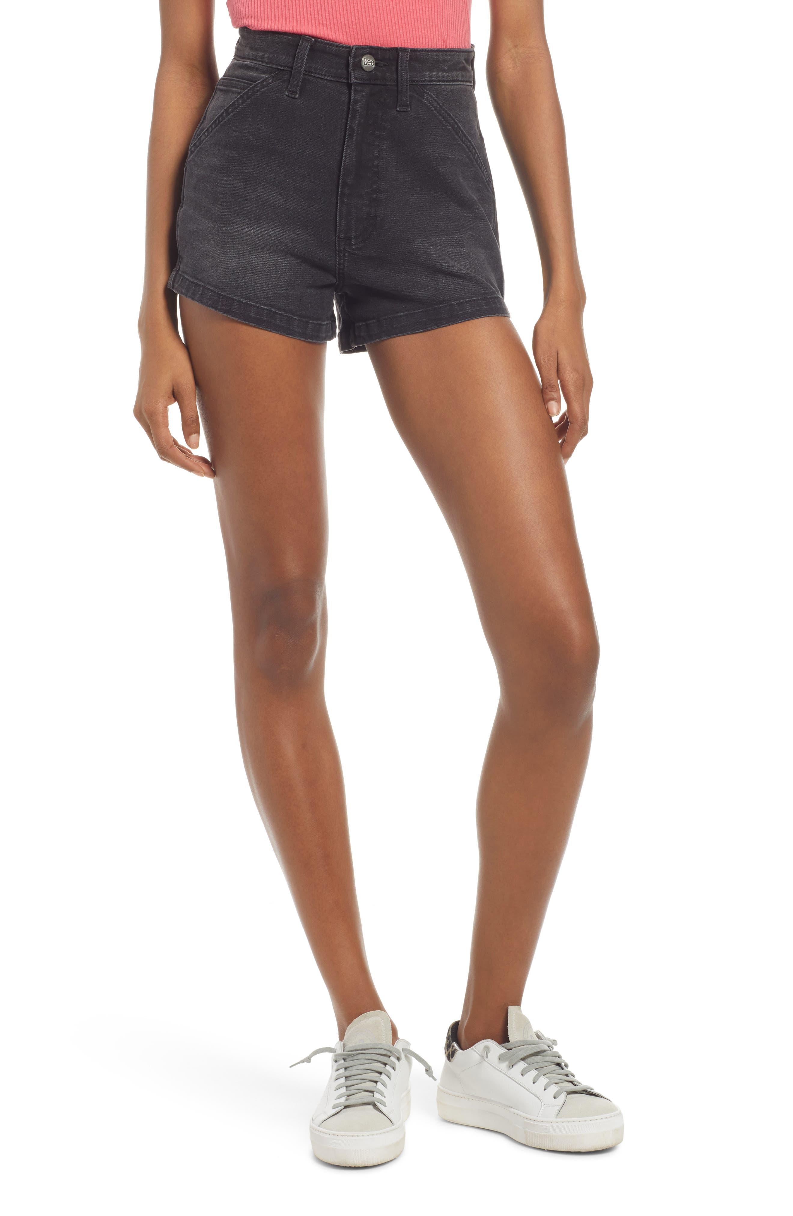 High Waist Dungaree Shorts