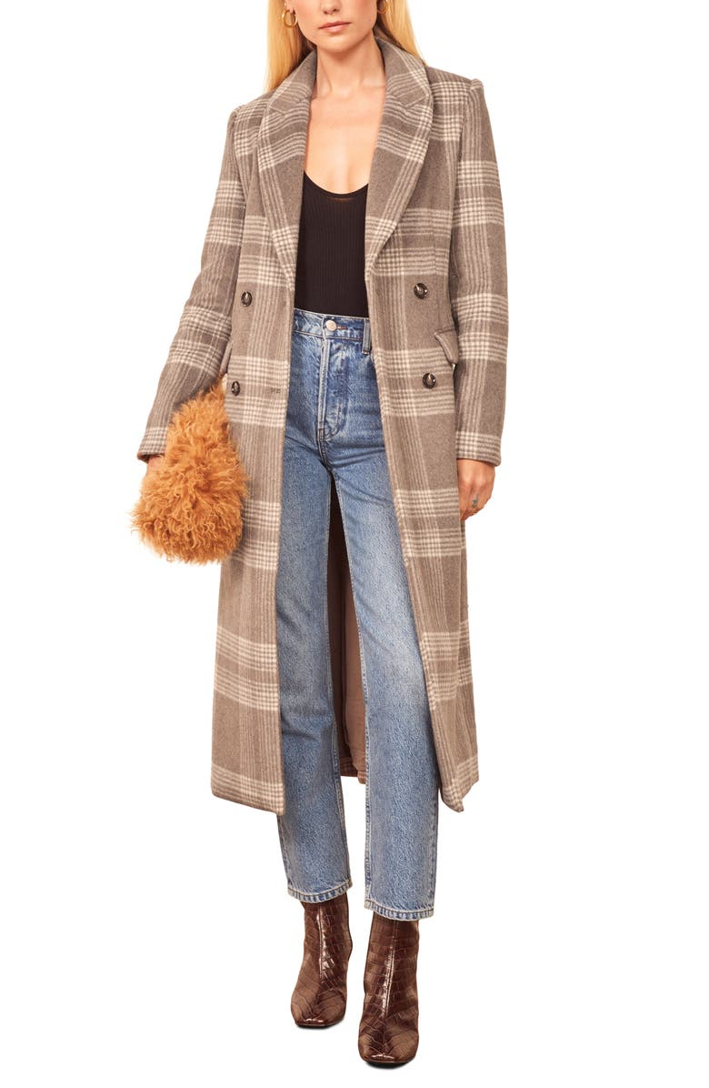 REFORMATION York Coat, Main, color, BROWN CHECK