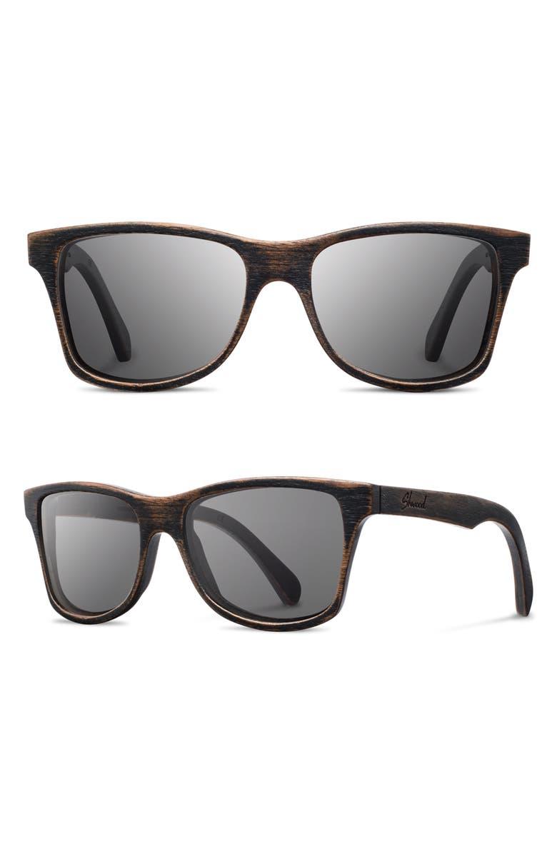 SHWOOD 'Canby' 54mm Wood Sunglasses, Main, color, DARK WALNUT/ DARK GREY