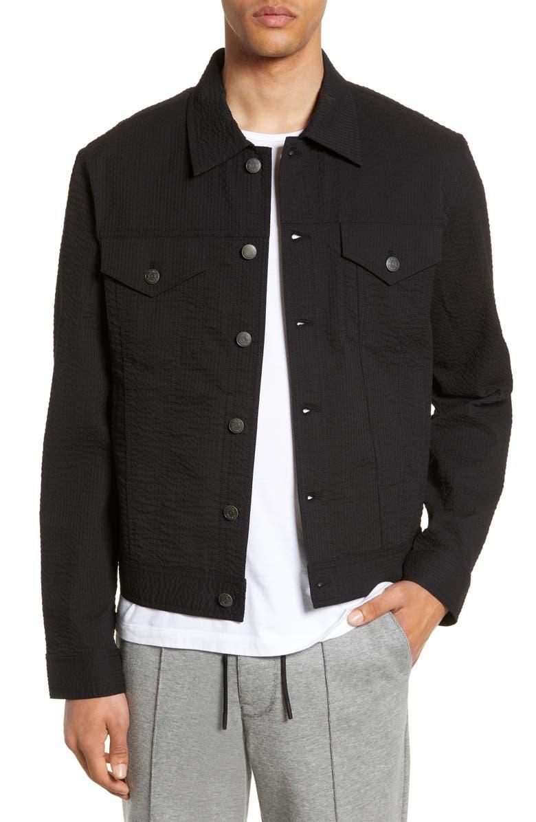 CLUB MONACO Slim Fit Seersucker Jacket, Main, color, BLACK