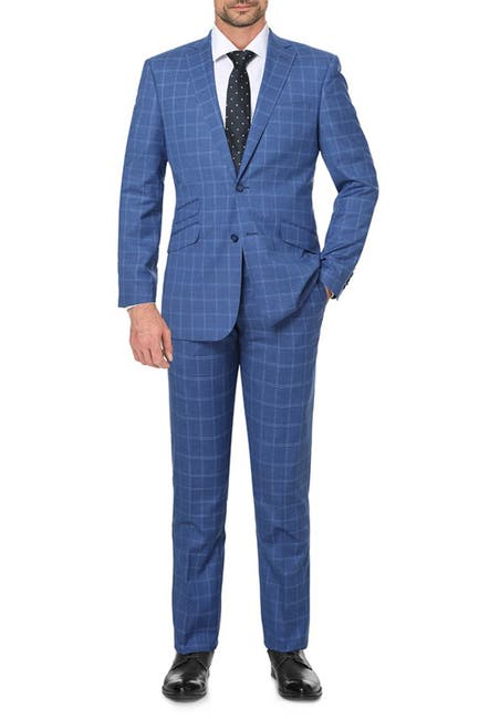 Image of English Laundry Blue Plaid Slim Fit Single Breasted Suit