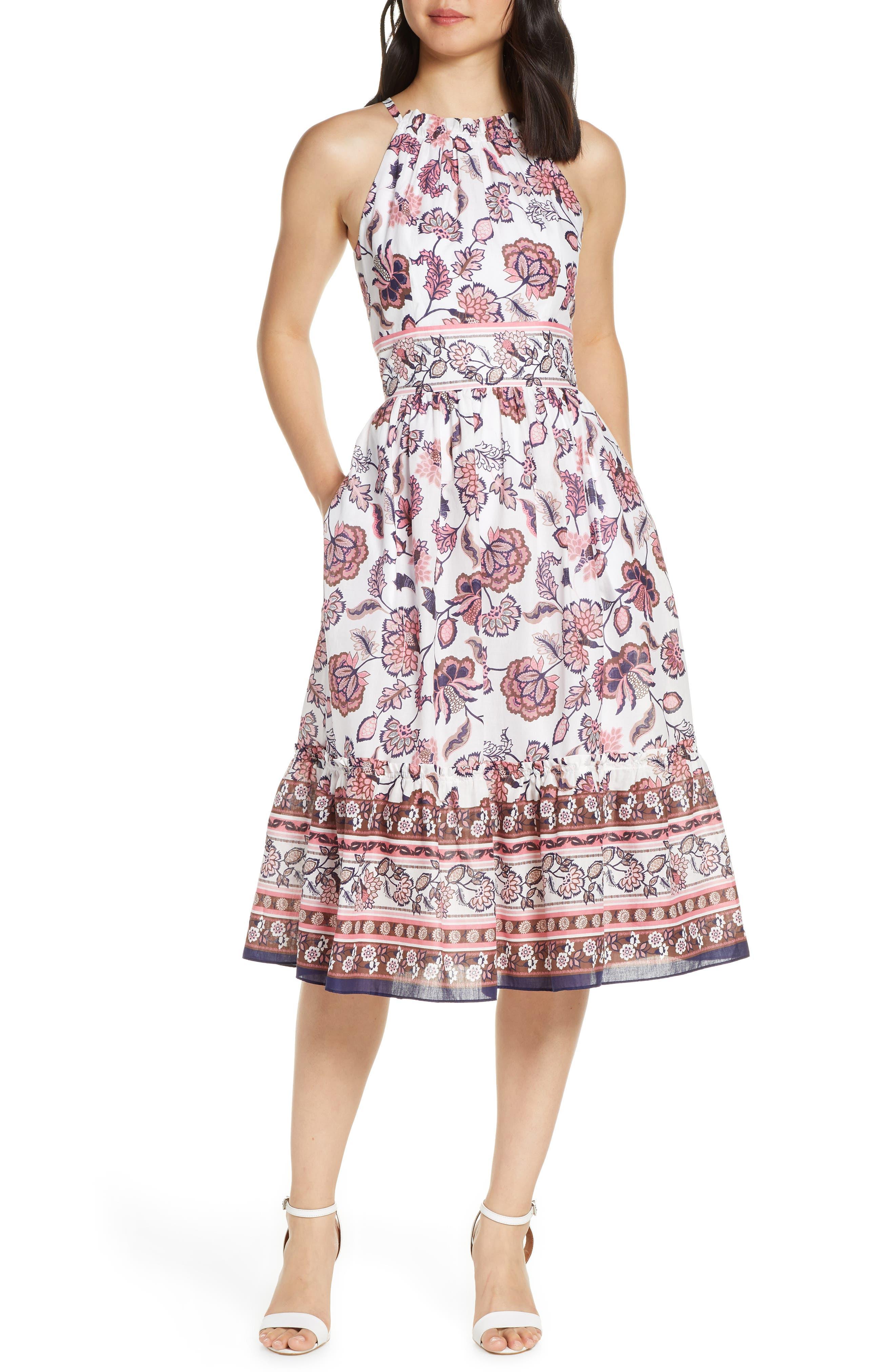 Petite Eliza J Floral Print Halter Cotton Midi Dress, Ivory
