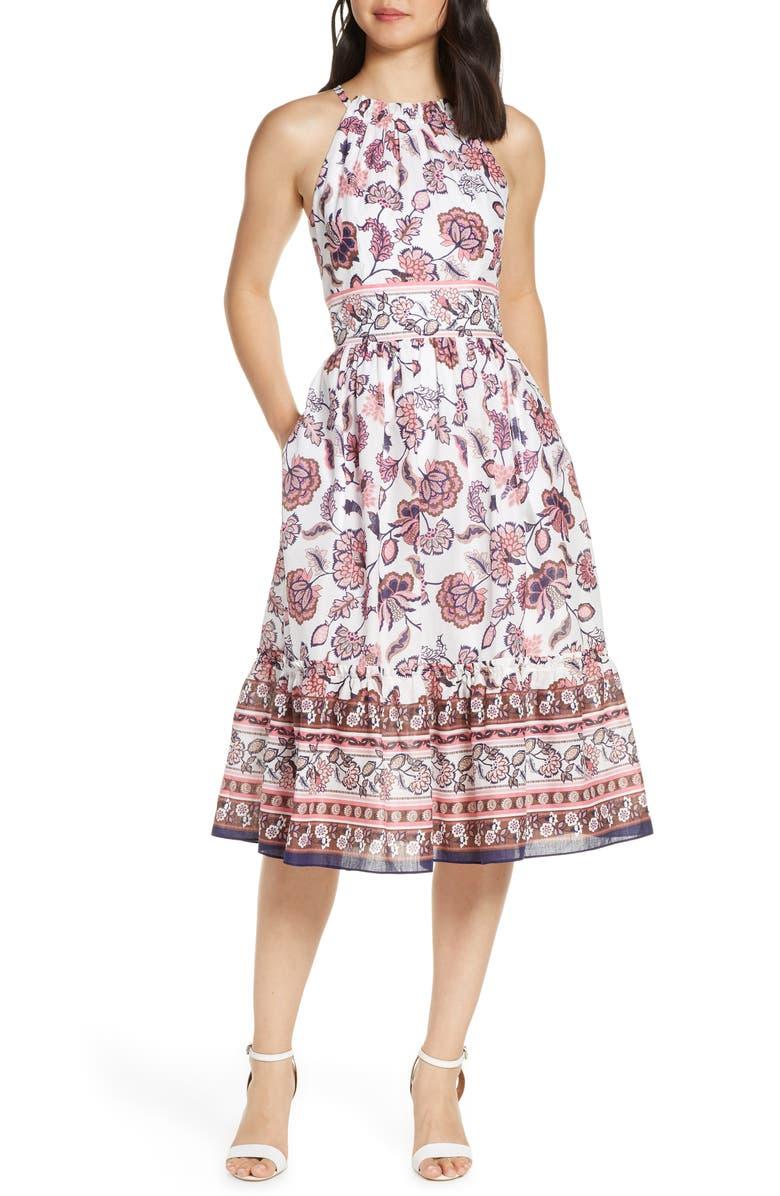 ELIZA J Floral Print Halter Cotton Midi Dress, Main, color, 900