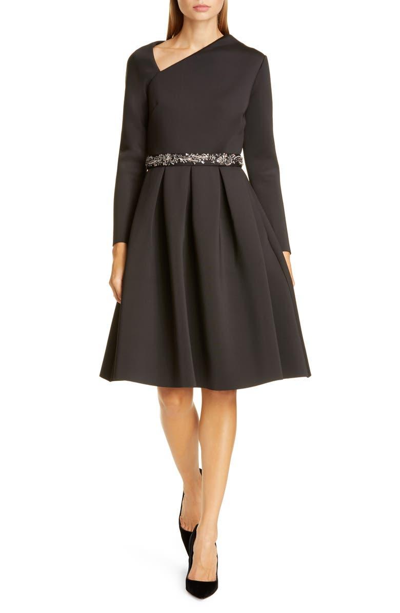 BADGLEY MISCHKA COLLECTION Badgley Mischka Asymmetrical Neckline Fit & Flare Scuba Dress, Main, color, BLACK