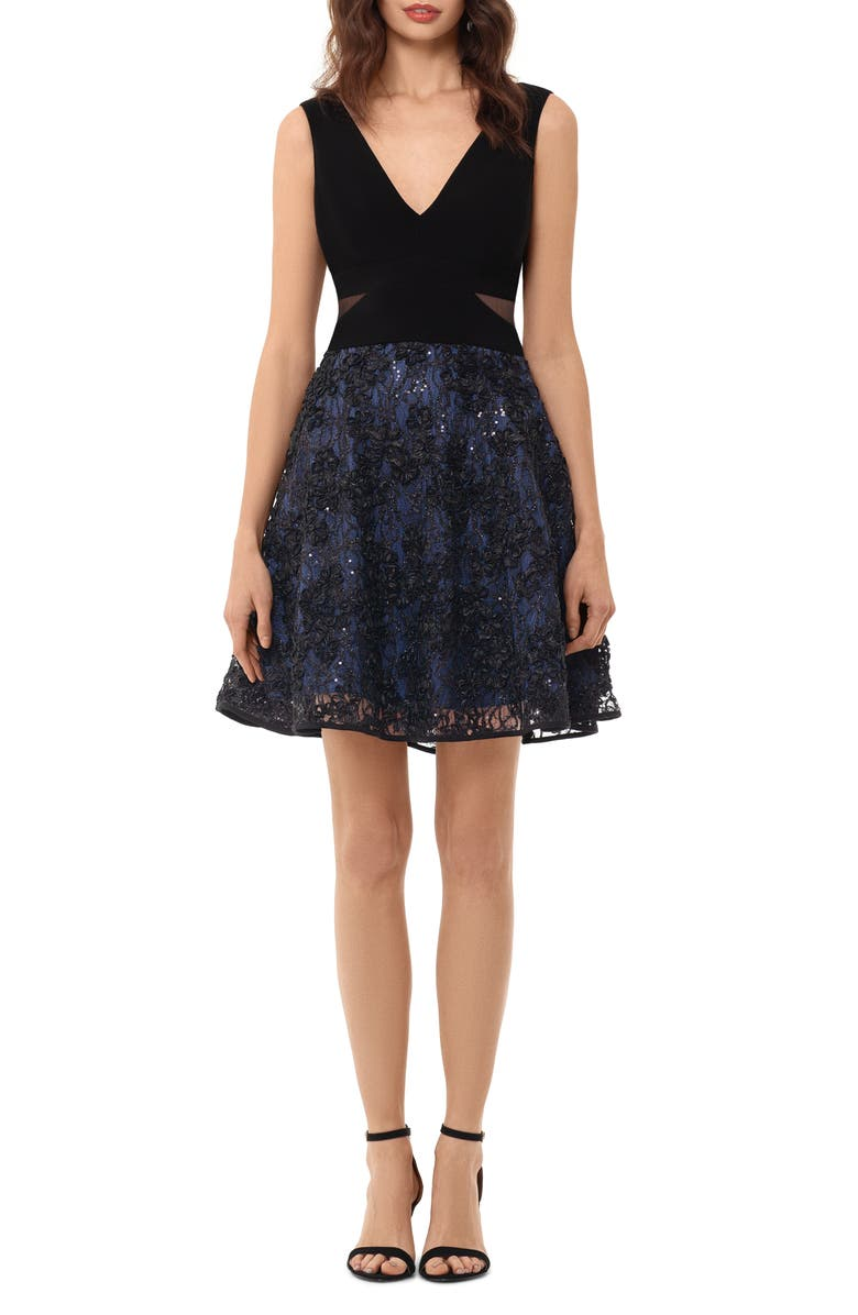 XSCAPE Mesh Inset Embroidered Party Dress, Main, color, BLACK/ NAVY