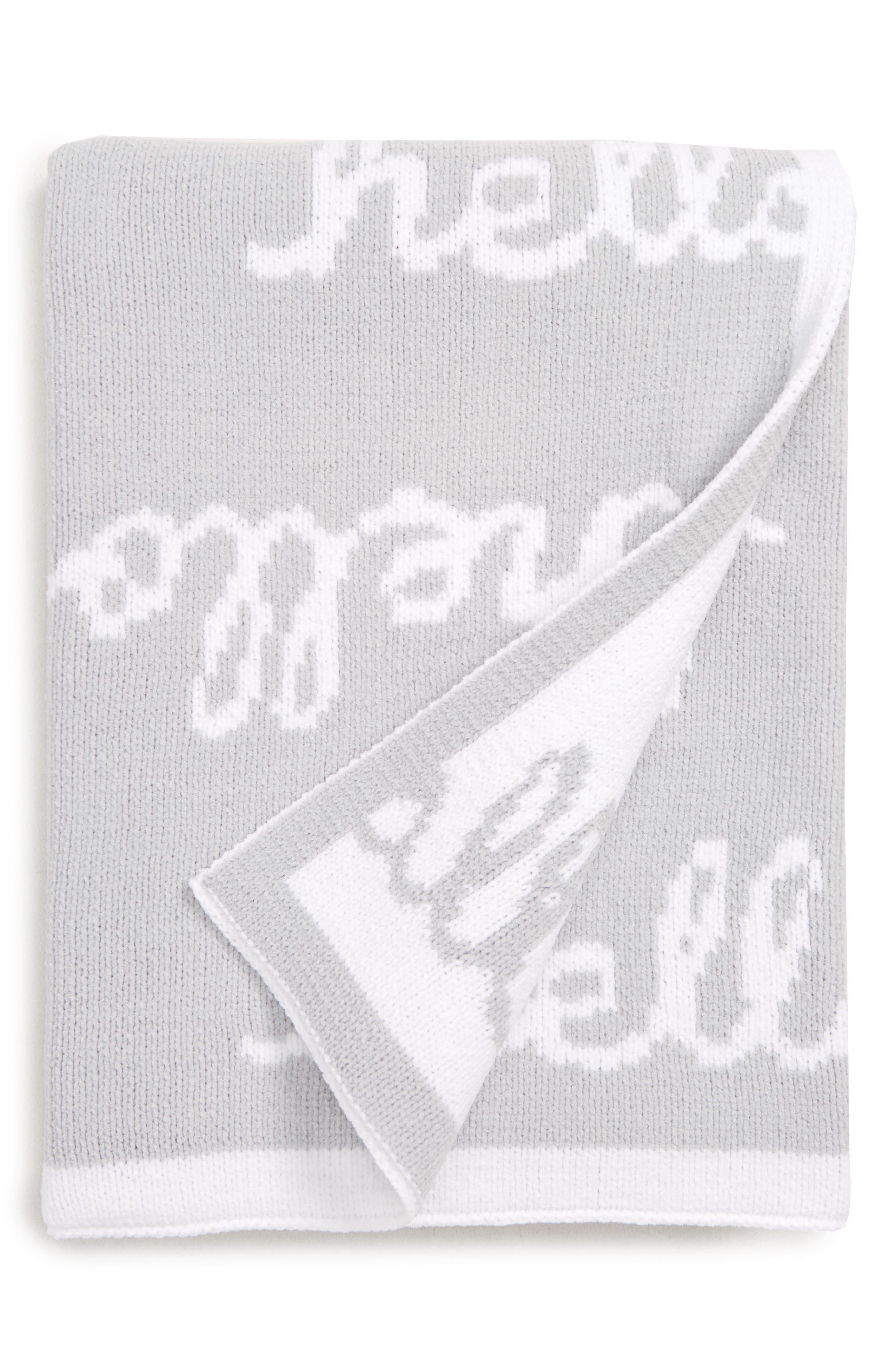 Chenille Blanket, Main, color, GREY MICRO HELLO BABY