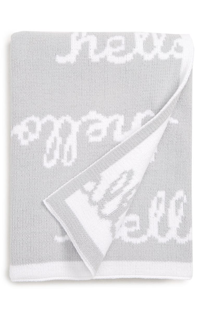 NORDSTROM BABY Chenille Blanket, Main, color, GREY MICRO HELLO BABY
