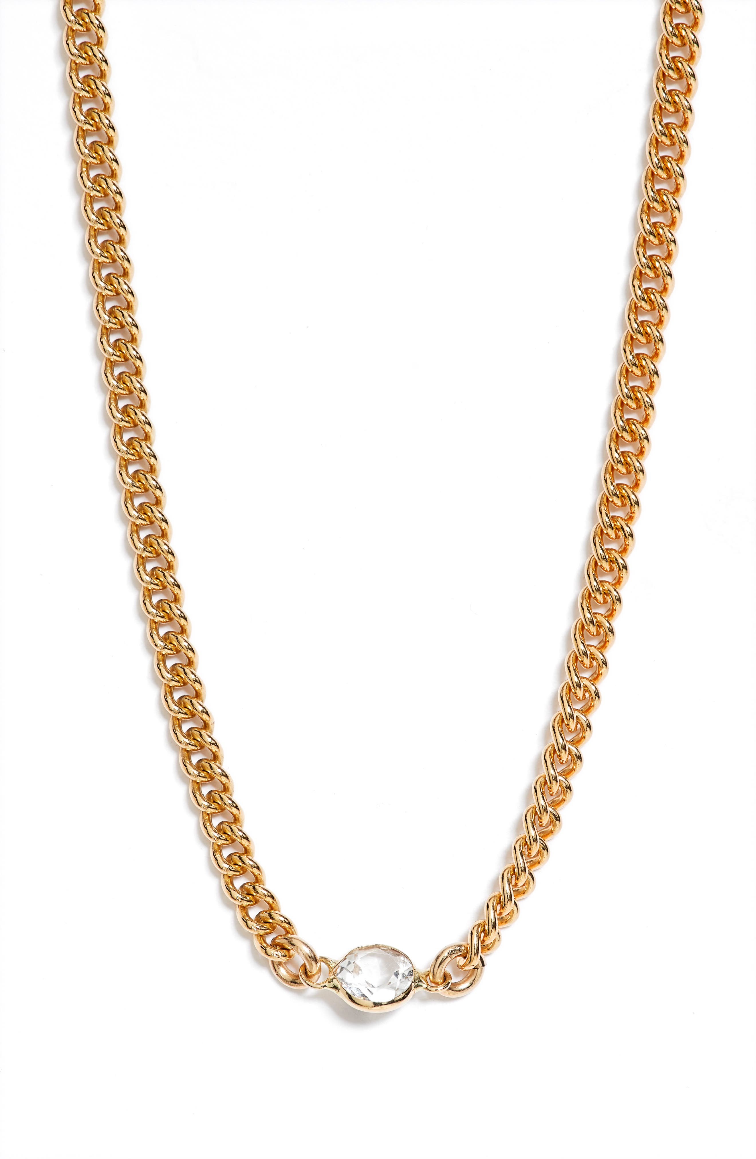 This chunky curb-chain collar gets a sophisticated twist from a bezel-set white topaz that sparkles brightly front and center. Style Name: Set & Stones Lyla Necklace. Style Number: 6093890. Available in stores.