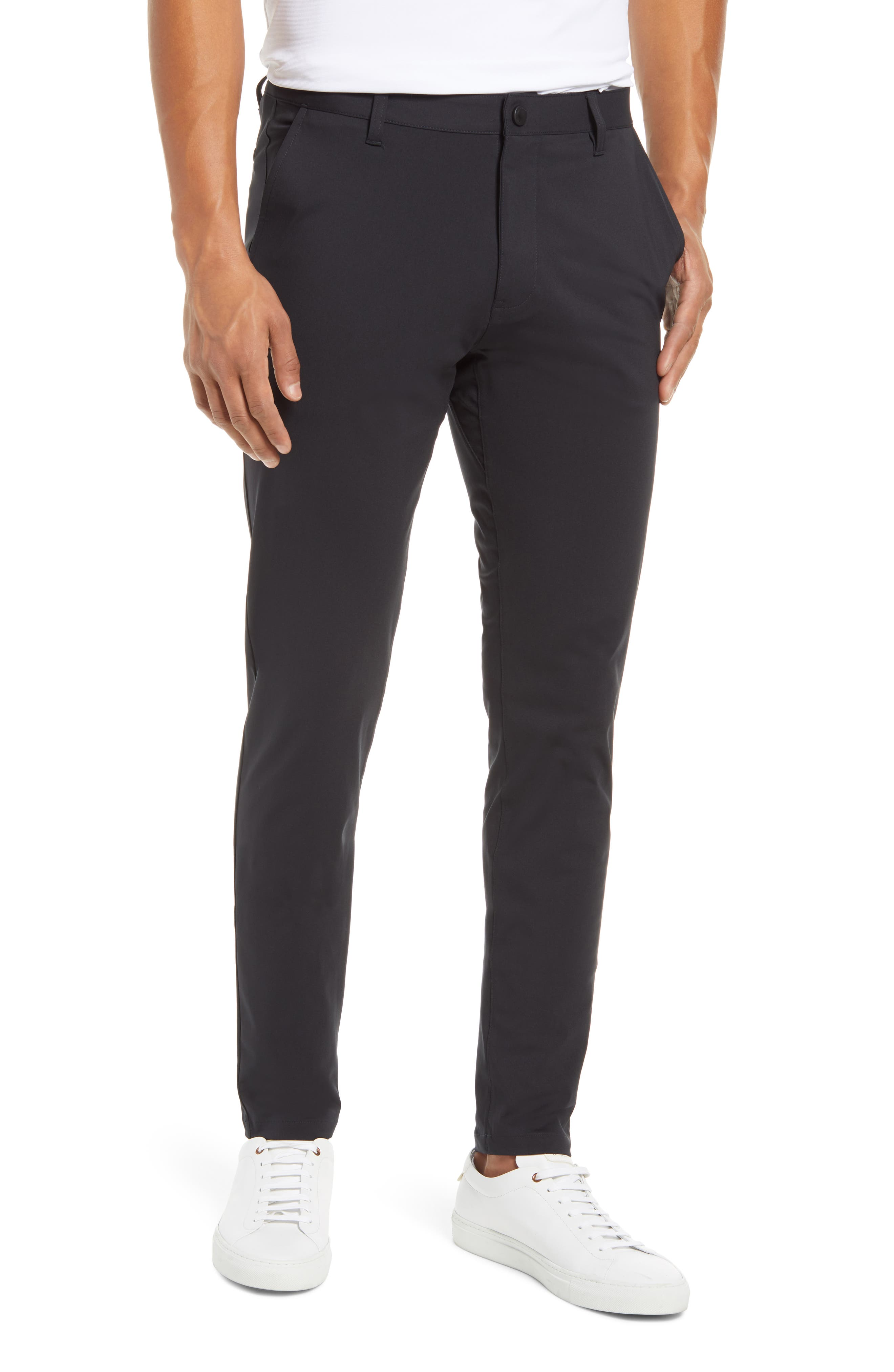 A flat front and modern, skinny fit take you anywhere in comfortable four-way-stretch pants fitted with secure hidden pockets for your phone, currency or tunes. Style Name: Rhone Commuter Skinny Fit Men\\\'s Pants. Style Number: 6095345. Available in stores.