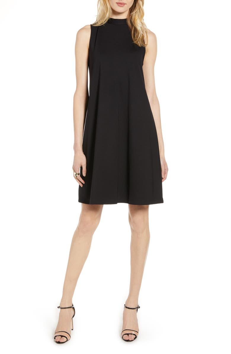 HALOGEN<SUP>®</SUP> Mock Neck Sleeveless Ponte Shift Dress, Main, color, 001