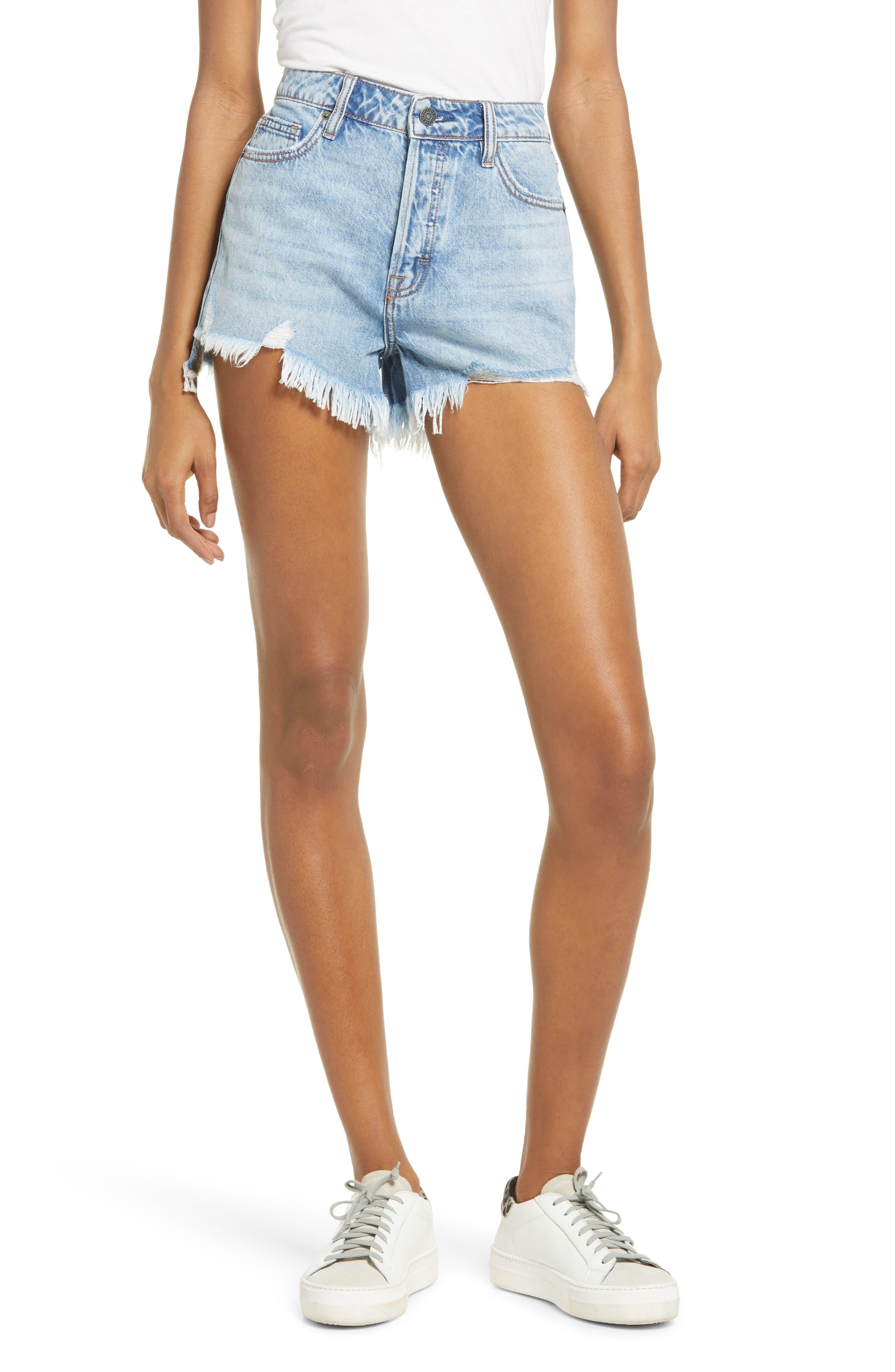 High Waist Step Hem Cutoff Denim Mom Shorts